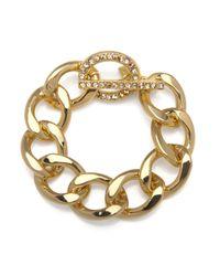 Kenneth Jay Lane | Metallic Gold And Rhinestone Chain Bracelet | Lyst