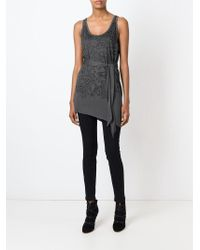 Unconditional - Gray Leopard Flower Print Tank Top - Lyst