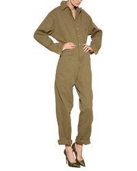 Balmain - Green Cotton Jumpsuit - Lyst