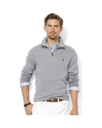 Ralph Lauren | Gray Half Zip Mock Neck French Rib Pullover for Men | Lyst