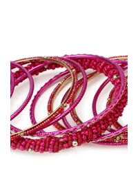 Forever 21 | Pink Treasured Beaded Bangle Set | Lyst