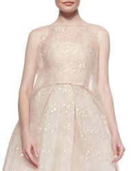 Monique Lhuillier - Pink Iridescent Chantilly Lace Overlay Tunic - Lyst