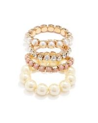 Forever 21 - Metallic Faux Pearl Bracelet Set You've Been Added To The Waitlist - Lyst