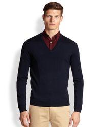 Burberry Brit - Blue Dockley Merino Wool Vneck Sweater for Men - Lyst