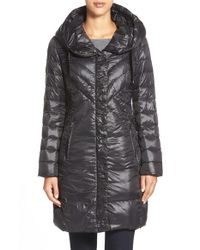 T Tahari | Black 'juliana Gisele' Hooded Down Coat | Lyst