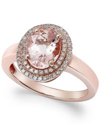 Macy's | Pink Morganite (1-1/2 Ct. T.w.) And Diamond (1/5 Ct. T.w.) Ring In 14k Rose Gold | Lyst