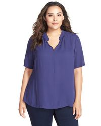 NYDJ | Blue Short Sleeve Split Neck Top | Lyst