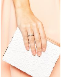 ASOS | Metallic Double Band Pearl Ring | Lyst