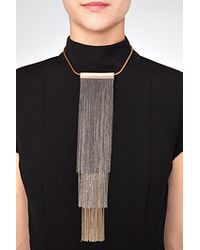 Vionnet | Metallic Fringed Necklace in Bronze Gold | Lyst