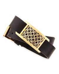 Tory Burch | Black Kinsley Double-wrap Leather Bracelet | Lyst
