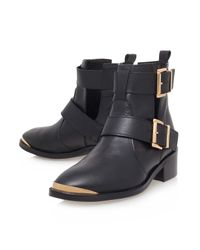TOPSHOP - Black Low Heel Leather Ankle Boots By Kurt Geiger - Lyst