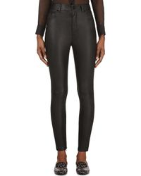Saint Laurent - Black Leather Skinny High Waist Trousers - Lyst