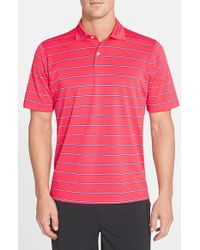 Fairway & Greene | Red 'blair' Stripe Stretch Pique Golf Polo for Men | Lyst