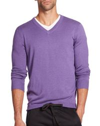 Saks Fifth Avenue | Purple Silk Blend V-neck Sweater for Men | Lyst