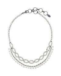 Elizabeth Cole - Metallic Navette and Crystal Braided Necklace - Lyst