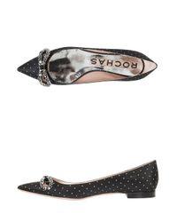 Rochas - Black Crystal Bow Flat Shoes - Lyst