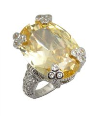 Judith Ripka | Metallic Canary Crystal And White Sapphire Large Oval 'olivia' Ring | Lyst
