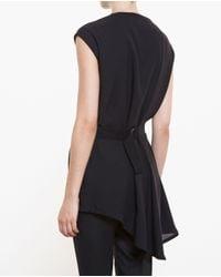 Ann Demeulemeester - Black Asymmetric Belted Top - Lyst