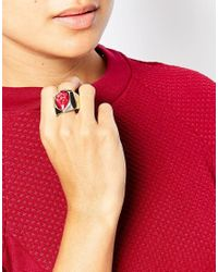 Oasis | Metallic Teardrop Stone Stretch Ring | Lyst