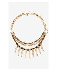 Express - Metallic Layered Chain And Dangling Tooth Bib Necklace - Lyst