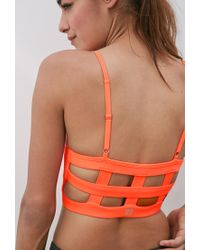 Forever 21 | Pink Medium Impact - Caged Back Sports Bra | Lyst