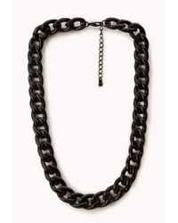 Forever 21 - Black Lacquered Curb Chain Necklace - Lyst