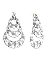 Lagos | Metallic Sterling Silver Voyage Large 3-hoop Floral Earrings | Lyst
