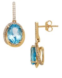 Lord & Taylor | 14k Yellow Gold Blue Topaz And Diamond Drop Earrings | Lyst