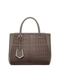 Fendi - Gray 2jours Petite Crocodile-embossed Calf Hair & Leather Shopper - Lyst