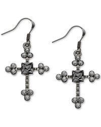 Guess - Black Hematitetone Crystal Stone Cross Drop Earrings - Lyst