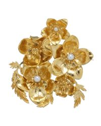 Alex Monroe | Metallic Exclusive Helebores Gold Plated Pearl Christmas Brooch Set | Lyst