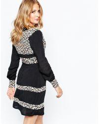 Millie Mackintosh - Black Embroidered Longsleeve V Neck Dress - Lyst
