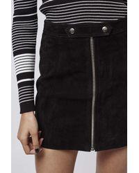 TOPSHOP | Black Tab Zip Suede Skirt | Lyst
