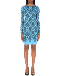 Mary Katrantzou | Blue Damask Silk-jersey Dress | Lyst