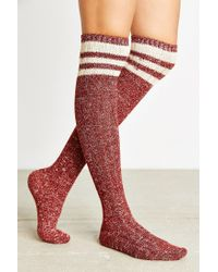 Urban Outfitters | Brown Marled Varsity Stripe Over-the-knee Sock | Lyst