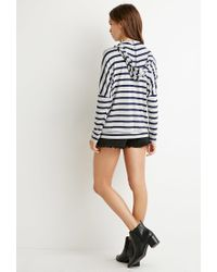 Forever 21 | Blue Striped Drawstring Hoodie | Lyst