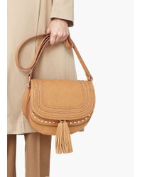 Mango - Brown Stud Cross Body Bag - Lyst