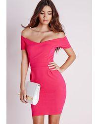939ef6abdd Lyst - Missguided Short Sleeve Pleated Bardot Bodycon Dress Hot Pink ...