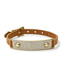 Michael Kors - Metallic Leather Wrap Bracelet Golden - Lyst