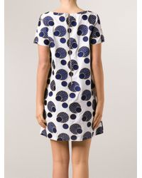 SUNO - Blue Embroidered Polka Dot Dress - Lyst
