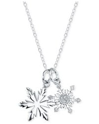 Disney | Metallic Frozen Diamond Accent Snowflake Pendant Necklace In Sterling Silver | Lyst