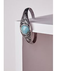 Missguided | Blue Semi Precious Stone Bangle | Lyst