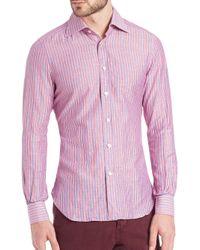 Kiton - Pink Striped Sportshirt for Men - Lyst