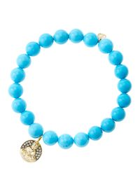 Sydney Evan | Blue 8mm Turquoise Beaded Bracelet With 14k Gold/diamond Sitting Buddha Charm (made To Order) | Lyst