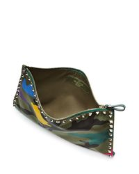 Valentino - Rockstud Camouflage Printed Pouch - Multicolor - Lyst