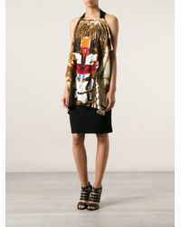 Givenchy - Brown Baby's-breath And Cross-print Ruffled Dress - Lyst