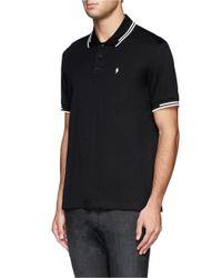 Neil Barrett - Black Lightning Bolt Logo Polo Shirt for Men - Lyst
