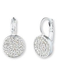 Anne Klein | Metallic Silver Tone Pave Drop Earrings | Lyst