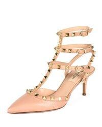 Valentino - Pink Rockstud Leather Pumps - Lyst