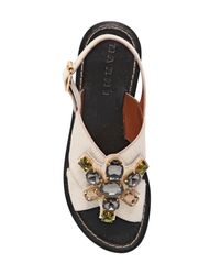 Marni - White Jeweled Ponyskin Sandals - Lyst